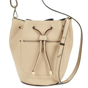 Ann Taylor Beige Crossbody Bucket Bag EUC